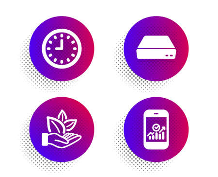 Organic product, Mini pc and Clock icons simple set. Halftone dots button. Smartphone statistics sign. Leaf, Computer, Time or watch. Mobile business. Technology set. Vector Stock Illustratie