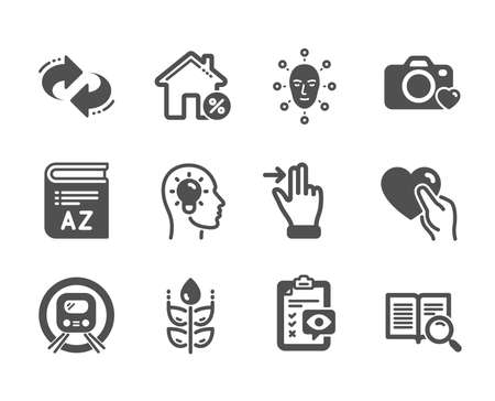 Set of Business icons, such as Loan house, Photo camera, Touchscreen gesture, Gluten free, Eye checklist, Face biometrics, Idea head, Hold heart, Search text, Vocabulary, Refresh. Vector