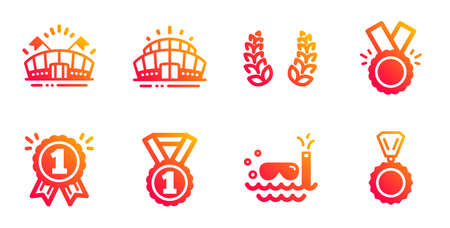 Best rank, Scuba diving and Reward line icons set. Arena stadium, Laurel wreath and Sports arena signs. Honor, Medal symbols. Success medal, Trip swimming. Sports set. Vector