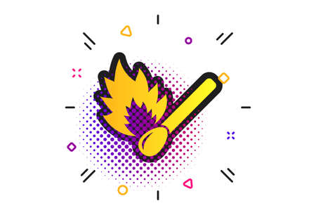 Match stick burns icon. Halftone dots pattern. Burning matchstick sign. Fire symbol. Classic flat matchstick icon. Vector Illustration