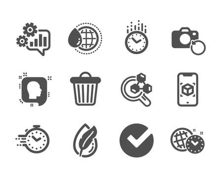 Set of Science icons, such as Verify, Augmented reality, Time management, Timer, Head, World water, Hypoallergenic tested, Cogwheel, Time, Recovery photo, Chemistry lab, Trash bin. Verify icon. Vector