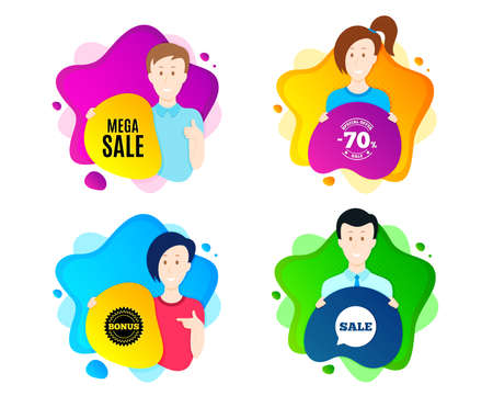 Mega Sale. People shape offer badge. Special offer price sign. Advertising Discounts symbol. Dynamic shape offer. Worker person badge. Cut out people coupon. Mega sale text. Vector