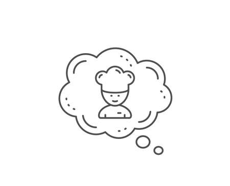 Cooking chef line icon. Chat bubble design. Sous-chef sign. Food preparation symbol. Outline concept. Thin line cooking chef icon. Vector