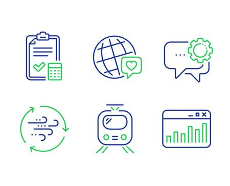 World brand, Employees messenger and Wind energy line icons set. Train, Accounting checklist and Marketing statistics signs. Love, Speech bubble, Breeze power. Tram. Business set. Vector Standard-Bild - 129395737
