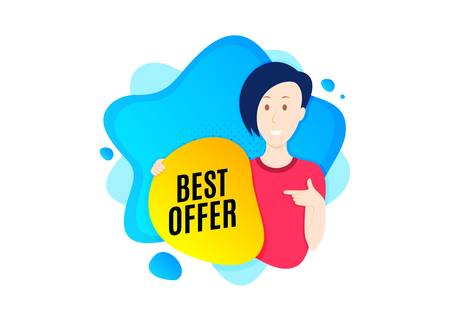 Best offer. Cut out people badge. Special price Sale sign. Advertising Discounts symbol. Dynamic shape offer. Best offer text. Cut out people dynamic banner. Worker person badge. Vector