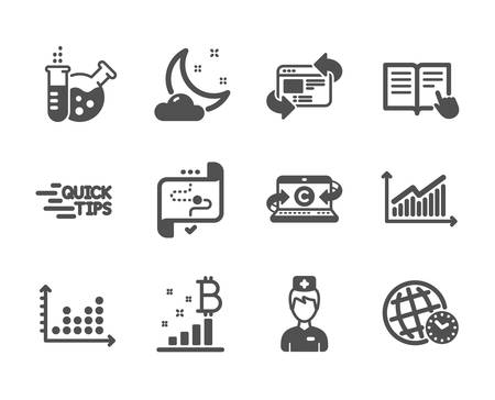 Set of Science icons, such as Bitcoin graph, Dot plot, Target path, Doctor, Copywriting notebook, Refresh website, Chemistry lab, Graph, Time zone, Education, Read instruction. Vector