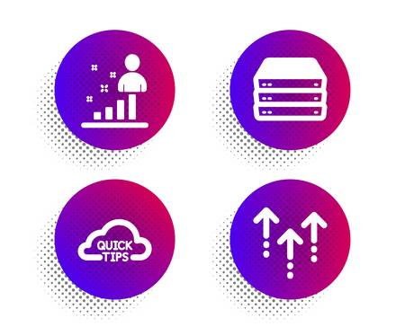 Quick tips, Stats and Servers icons simple set. Halftone dots button. Swipe up sign. Helpful tricks, Business analysis, Big data. Scrolling arrow. Science set. Classic flat quick tips icon. Vector