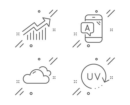 Cloudy weather, Demand curve and Ab testing line icons set. Uv protection sign. Sky climate, Statistical report, Phone test. Skin cream. Business set. Line cloudy weather outline icon. Vector