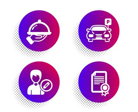 Parking, Edit person and Restaurant food icons simple set. Halftone dots button. Certificate sign. Car park, Change user info, Room service. Diploma. Business set. Classic flat parking icon. Vector
