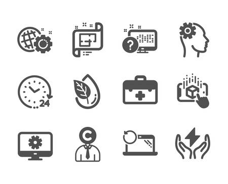 Set of Science icons, such as Architectural plan, Online quiz, Engineering, Augmented reality, First aid, Recovery laptop, 24 hours, Seo gear, Monitor settings, Copyrighter, Safe energy. Vector