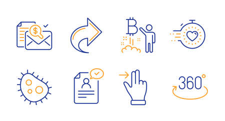 Share, Accounting report and Bitcoin project line icons set. Touchscreen gesture, Bacteria and Timer signs. Resume document, Full rotation symbols. Link, Check finance. Technology set. Vector