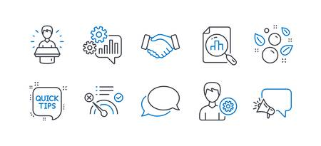 Set of Business icons, such as Brand ambassador, No internet, Quick tips, Handshake, Cogwheel, Clean bubbles, Analytics graph, Messenger, Support, Megaphone line icons. Vector