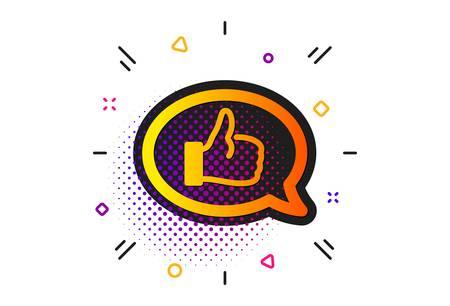 Communication symbol. Halftone circles pattern. Positive feedback icon. Speech bubble sign. Classic flat feedback icon. Vector 일러스트