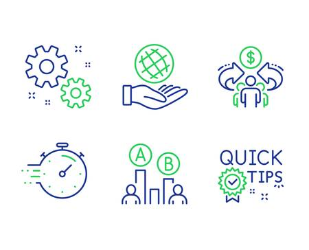 Timer, Work and Sharing economy line icons set. Safe planet, Ab testing and Quick tips signs. Deadline management, Settings, Share. Ecology. Science set. Line timer outline icons. Vector