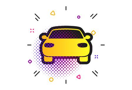 Car sign icon. Halftone dots pattern. Delivery transport symbol. Classic flat car icon. Vector  イラスト・ベクター素材