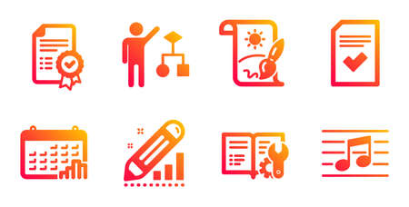 Algorithm, Certificate and Edit statistics line icons set. Creative painting, Calendar graph and Checked file signs. Engineering documentation, Musical note symbols. Vector Ilustrace