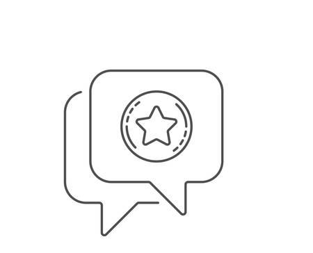 Loyalty star line icon. Chat bubble design. Bonus points. Discount program symbol. Outline concept. Thin line loyalty star icon. Vector