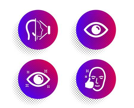 Eye, Health eye and Face id icons simple set. Halftone dots button. Healthy face sign. View or vision, Optometry, Phone scanning. Healthy cosmetics. Medical set. Classic flat eye icon. Vector