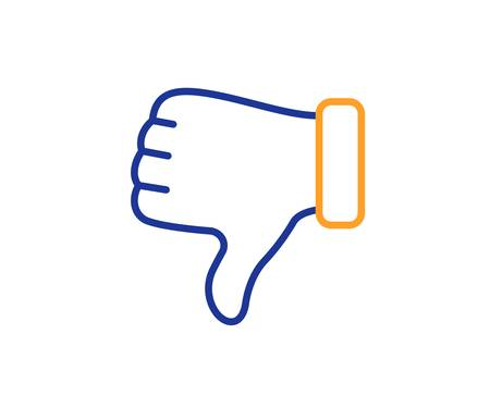 Thumbs down finger sign. Dislike hand line icon. Gesture symbol. Colorful outline concept. Blue and orange thin line dislike hand icon. Vector Vectores
