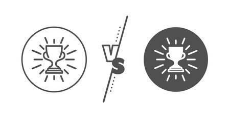 Winner Trophy symbol. Versus concept. Award cup line icon. Sports achievement sign. Line vs classic trophy icon. Vector Illustration