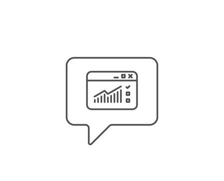Website Traffic line icon. Chat bubble design. Report chart or Sales growth sign. Analysis and Statistics data symbol. Outline concept. Thin line web Traffic icon. Vector 写真素材 - 129396108
