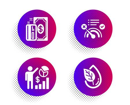 Payment, Seo statistics and No internet icons simple set. Halftone dots button. Organic product sign. Cash money, Analytics chart, Bandwidth meter. Leaf. Business set. Vector 写真素材 - 129396114