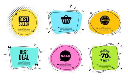 Best deal. Best seller, quote text. Special offer Sale sign. Advertising Discounts symbol. Quotation bubble. Banner badge, texting quote boxes. Best deal text. Coupon offer. Vector