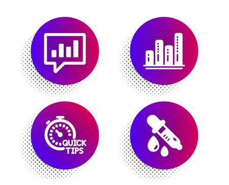 Graph chart, Quick tips and Analytical chat icons simple set. Halftone dots button. Chemistry pipette sign. Growth report, Helpful tricks, Communication speech bubble. Laboratory. Science set. Vector