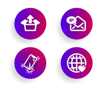 Send box, New mail and Smartphone broken icons simple set. Halftone dots button. International love sign. Delivery package, Received e-mail, Phone crack. Internet dating. Technology set. Vector Vector Illustratie