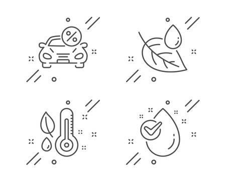 Car leasing, Thermometer and Leaf dew line icons set. Water drop sign. Transport discount, Grow plant, Water drop. Clean aqua. Line car leasing outline icon. Vector