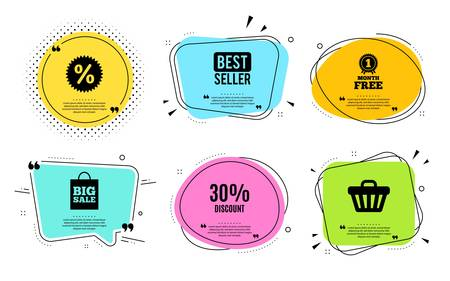 30% Discount. Best seller, quote text. Sale offer price sign. Special offer symbol. Quotation bubble. Banner badge, texting quote boxes. Discount text. Coupon offer. Vector  イラスト・ベクター素材