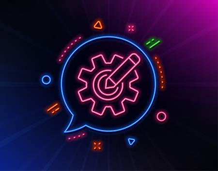 Cogwheel line icon. Neon laser lights. Engineering tool sign. Edit settings symbol. Glow laser speech bubble. Neon lights chat bubble. Banner badge with cogwheel icon. Vector  イラスト・ベクター素材