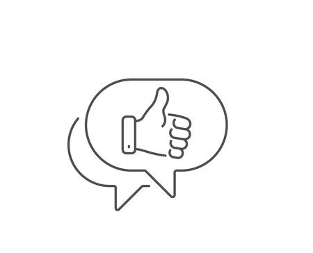 Like hand line icon. Chat bubble design. Thumbs up finger sign. Gesture symbol. Outline concept. Thin line like hand icon. Vector