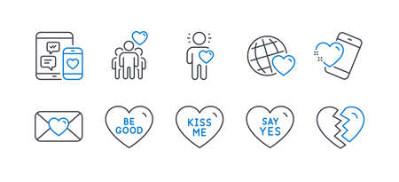 Set of Love icons, such as Kiss me, Friendship, Heart, Be good, Valentine, Friend, Say yes, Friends world, Social media, Break up line icons. Love sweetheart, Trust friends. Line kiss me icon. Vector Иллюстрация