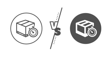 Delivery timer sign. Versus concept. Shipping tracking line icon. Express logistics symbol. Line vs classic delivery timer icon. Vector Ilustrace