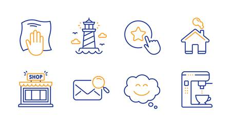 Shop, Lighthouse and Smile chat line icons set. Loyalty star, Search mail and Washing cloth signs. Home, Coffee maker symbols. Store, Beacon tower. Line shop icon. Vector
