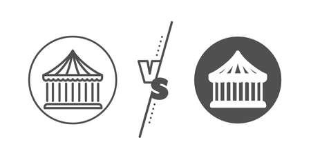 Amusement park sign. Versus concept. Carousels line icon. Line vs classic carousels icon. Vector Illustration