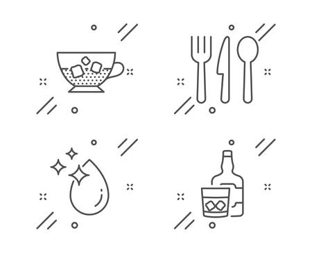 Cold coffee, Food and Water drop line icons set. Whiskey glass sign. Ice cubes in beverage, Cutlery, Crystal aqua. Scotch drink. Food and drink set. Line cold coffee outline icon. Vector  イラスト・ベクター素材