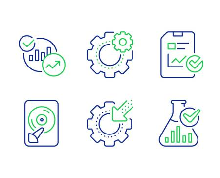 Statistics, Seo gear and Hdd line icons set. Report checklist, Cogwheel and Chemistry lab signs. Report charts, Cogwheel, Memory disk. Sales growth file. Science set. Vector