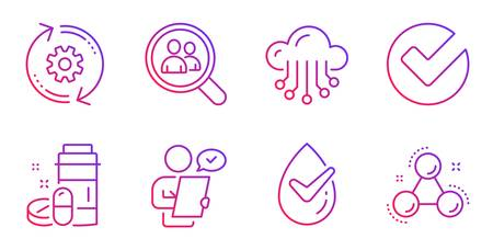 Verify, Customer survey and Search employees line icons set. Medical drugs, Cogwheel and Dermatologically tested signs. Cloud storage, Chemistry molecule symbols. Selected choice, Contract. Vector
