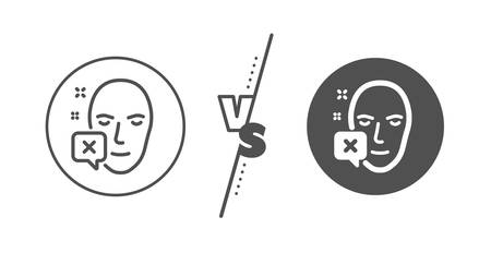 Human profile sign. Versus concept. Face declined line icon. Facial identification error symbol. Line vs classic face declined icon. Vector