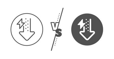 Thunderbolt sign. Versus concept. Energy line icon. Power consumption symbol. Line vs classic energy drops icon. Vector