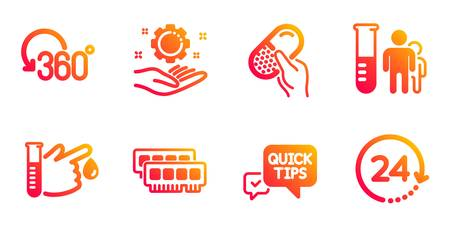 Medical analyzes, Employee hand and Full rotation line icons set. Ram, Capsule pill and Blood donation signs. Quick tips, 24 hours symbols. Medicine results, Work gear. Science set. Vector