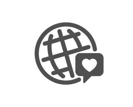 Friendship love sign. Friends world icon. World brand ambassador symbol. Classic flat style. Simple world brand icon. Vector