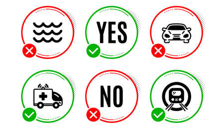 Waves, Ambulance car and Car icons simple set. Yes no check box. Metro subway sign. Water wave, Emergency transport, Transport. Underground. Transportation set. Waves icon. Check mark. Vector
