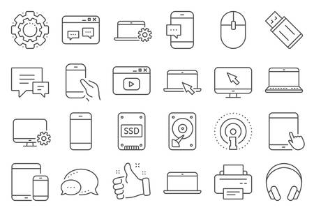 Mobile device line icons. Laptop, Tablet PC and Smartphone icons. HDD, SSD and Flash drive. Headphones, Printer and tablet device. Mouse, ssd disk, mobile laptop. Memory hdd drive. Vector 写真素材 - 129396238