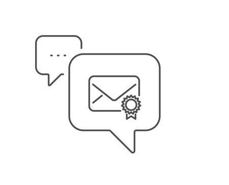 Verified Mail line icon. Chat bubble design. Confirmed Message correspondence sign. E-mail symbol. Outline concept. Thin line verified Mail icon. Vector Foto de archivo - 129396257