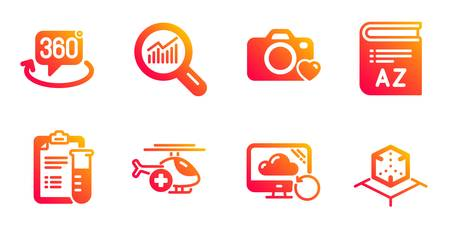 Recovery cloud, Medical analyzes and Data analysis line icons set. 360 degree, Photo camera and Vocabulary signs. Medical helicopter, Augmented reality symbols. Backup info, Medicine results. Vector