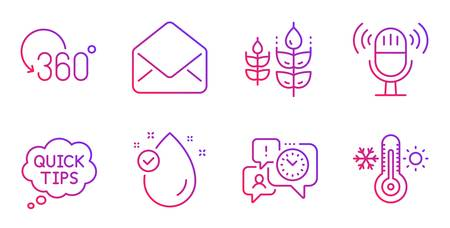 Gluten free, Full rotation and Vitamin e line icons set. Quick tips, Time management and Mail signs. Microphone, Thermometer symbols. Bio ingredients, 360 degree. Gradient gluten free icon. Vector