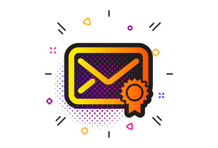 Confirmed Message correspondence sign. Halftone circles pattern. Verified Mail icon. E-mail symbol. Classic flat verified Mail icon. Vector